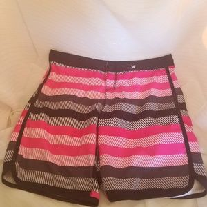 Hurley Junior's Black and Pink Boardshorts